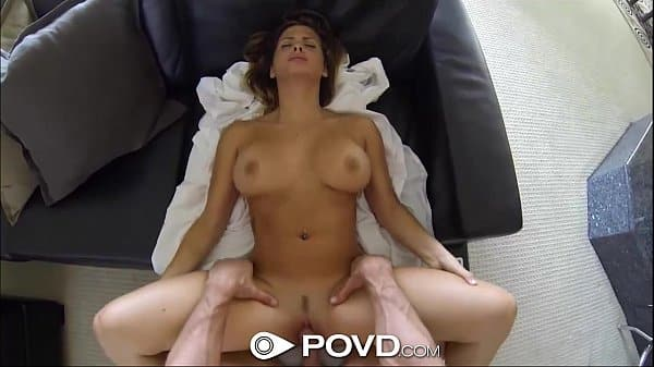 POVd Cute blond have huge orgasm from riding a big cock